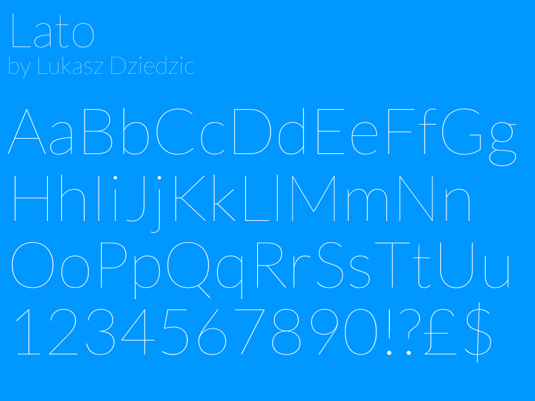 A san serif font sample for the Lato font