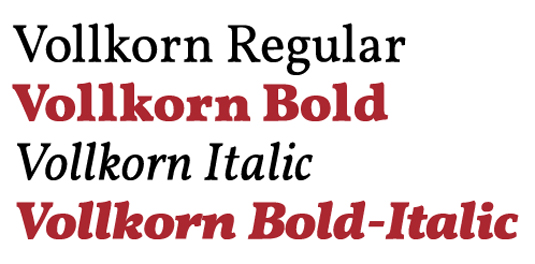 A serif font sample for he font Vollkorn