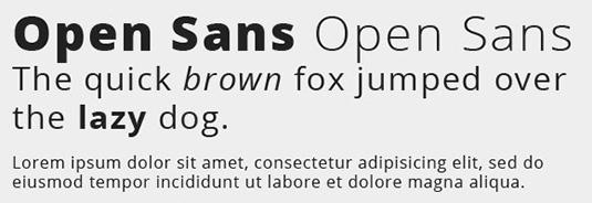 A sans Serif font called Open Sans